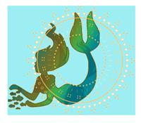 """Bild: Meeresfarbene Meerjungfrau als abstrakte Zeichnung mit goldenem Mandala als Bild für """"Klangwelten - Inspiriererende und heilsame Hörgeschichten"""" von Daniela Lasinger. copyright by Daniela Lasinger"""