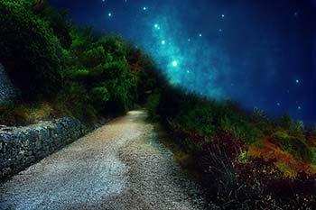 Bild, copyright pixabay.com: Ein Weg in der Naturlandschaft mit Sternenhimmel als Blog-Beitragsbild für Daniela Lasinger.