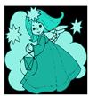 """Bild: Sternenmädchen mit Laterne in grün/türkiser Farbe als Symbol für das Programm """"Online-Freundin für emotionale Notfälle""""."""