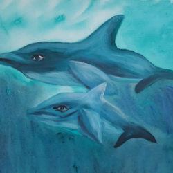 Bild: Handgemalte Delfine in türkis-blauer Farbe