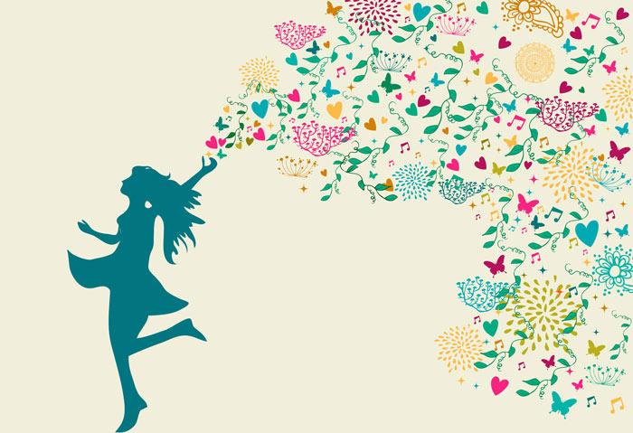 Bild: Key-Visual Daniela Lasinger. Tanzende Frau in türkis, die Leichtigkeit und Lebensfreude versprüht. Vektorgrafik.