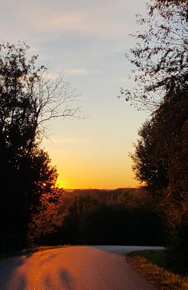 Bild: Weg mit Sonnenuntergang: Titelbild zum Blogartikel Wege finden, wenn Lösungen gesucht werden.